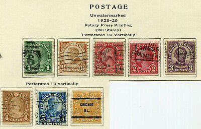 1923-1929 USA.  Coil stamps.  Part set of 8 USED.  SG 602/608 & 610.  CV £19.75.