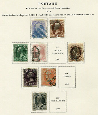 1873 USA.  Continental Bank Note Co.  Part set of 8 USED.  CV £480.40.