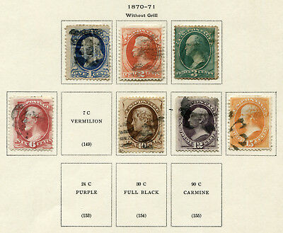 """1870-1871 USA.  """"Without Grill"""".  Part set of 7 USED.  CV £508.80."""
