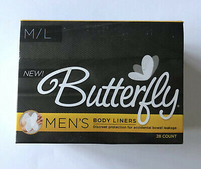 1 Men's Butterfly Body Liner Discreet Bowel Leakage Protection Pads M/L 28 Count