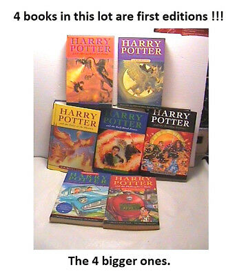 Harry Potter 1-7 Complete Series With 4 books being firsts editions 2000-2007
