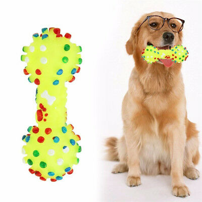 Dotted Dumbbell Shaped Dog Toys Squeeze Squeaky Faux Bone Pet Chew Toys he