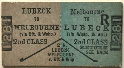 VR Ticket - LUBECK to MELBOURNE (via Beaufort & Warrenheip) - 2nd Class Return