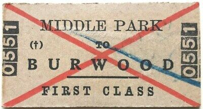 VR Class Suburban Ticket - MIDDLE PARK to BURWOOD - 1951 1st Class Single