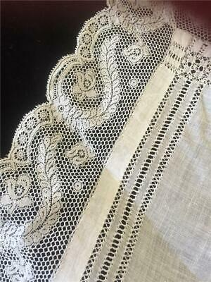 Antique French Lace Swiss cotton White Hankie. Bridal Something Old.monogram LG