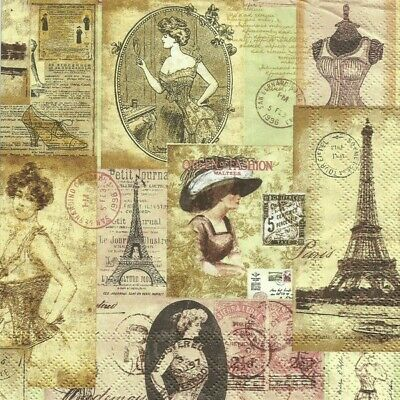 4 serviettes en papier napkins découpage collage 33 cm VINTAGE PARIS RETRO