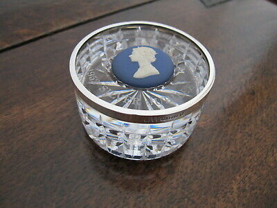 Hm Sterling Silver & Cut Glass Wedgwood Paperweight - Qeii Silver Jubilee - 1977