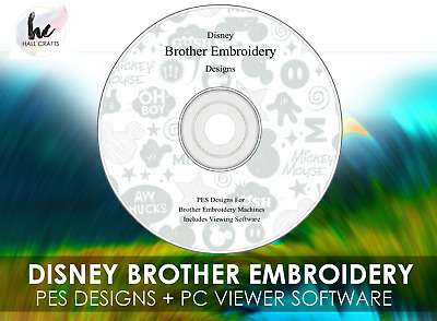 3,500 Disney Brother Embroidery Designs PES DVD + PC Viewing Software