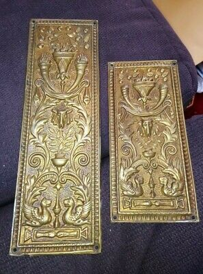 Victorian Brass Finger Plates Push Door Antique Flaming Torches Drapes Kite Mark