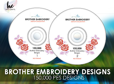 HUGE 150,000+ Brother Embroidery Designs PES 2 DVD Set + PC Viewing Software