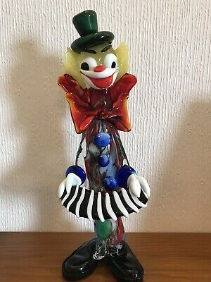 Vintage Murano Glass Clown - Accordion Player