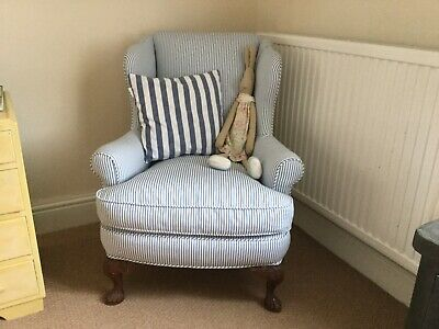 Edwardian Wingback Armchair. Reupholstered