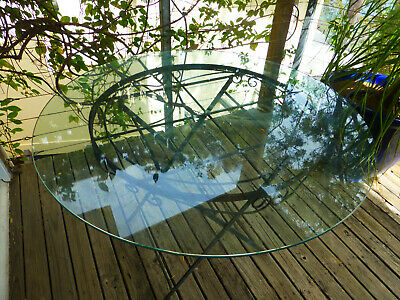 outdoor vintage folding wrought iron garden table round glass top Avalon Beach