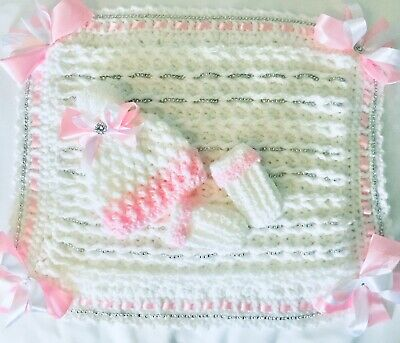 personlised Box With Crochet Pram Cover + Hat + Mitts