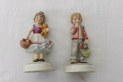 A Very Rare Pair Of Goebel Porcelain Statues 1968 Young Boy And Girl 16Cms High
