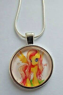 FLUTTER SHY SILVER NECKLACE 16 inch CHAIN 2-4 YEAR GIFT BOX PARTY MY LITTLE PONY