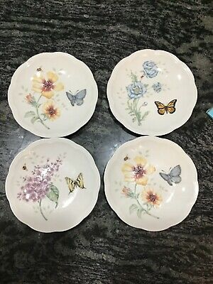 """Set of 4 Lenox BUTTERFLY MEADOW 6.5"""" Party Plates With Butterflies"""
