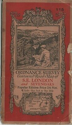 1932 OS Ordnance Survey one-inch Popular Edition Map 115 S E London & Sevenoaks