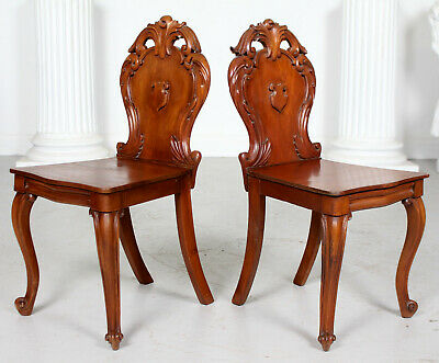 Pair Antique Hall Chairs Carved 19th Century Victorian Beech Shield Backs