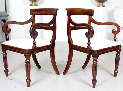 1 of 2 Antique Georgian Elbow Chairs Office Desk Armchair George IV Mahogany