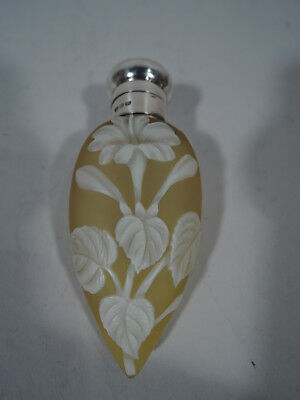Victorian Perfume - Antique Bottle   English Art Cameo Glass & Sterling Silver