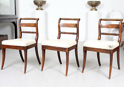 3 Antique Regency Rosewood Mahogany Dining Chairs Side 19th Century Painted