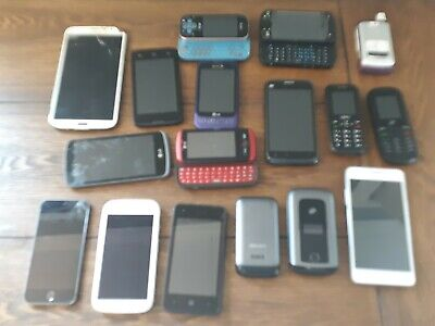 Junk Drawer Lot of 17 Cell Phones Various Brands For Parts 1 iPhone Untested