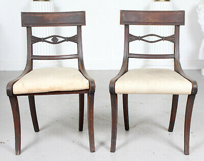 Pair Antique Regency Painted Dining Chairs 2 Side Chairs 19th Century