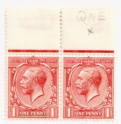 RARE KGV 2x1d RED w/FLAW: QNE (not ONE) PENNY MARGINAL PAIR MM
