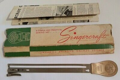 Vintage SINGER Singercraft Sewing Machine Rug Making Tool Orig Box 1933 Instr