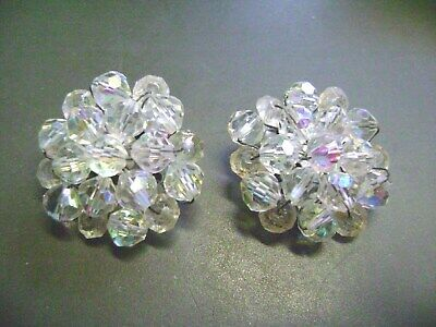 Vintage Round Glass Ab Crystal Silvertone  Clip On Earrings