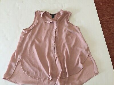 Forever 21 Blouse Size medium Sleeveless ~ Salmon Solid ~ Button front