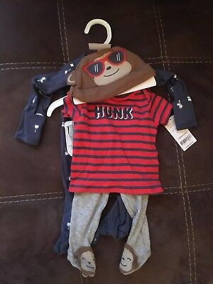 NWT Carters Baby Boy Clothes 3 Month - 4 Piece Hat Shirts Pants Pajama Set NWT