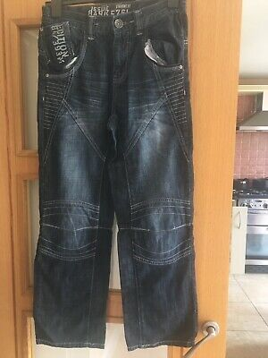 NEXT Boys Blue Jeans Age 12 Years Straight Fit Issue 849KS761 Adjustable Waist