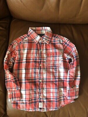 Carters Boys 2T Button Down Long Sleeve Shirt Plaid Toddler Blue Orange White