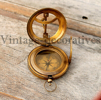 Solid Brass Push Button Compass Antique Sundial Compass For Hiking & Camping 3""