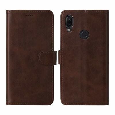 Flip Leather Case For Redmi Note 7 Brown Wallet Cover Strong Magnetic Card Slots