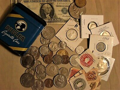 Junk Drawer Coin Lot Silver Coins, Kennedy Halves, Barber Dime, Rare U.s. Stamps
