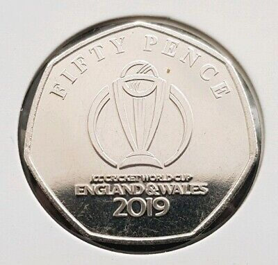 Coin 1 Isle Of Man ICC CRICKET WORLD CUP ENGLAND & WALES 2019 50P Coin FREE COIN