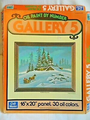 Vintage Craft Master Oil Paint by Numbers 16x20 Home Coming NIB Snow Scene