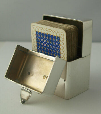 Rare Victorian Solid SIlver & Enamel Playing Cards Box - London 1898