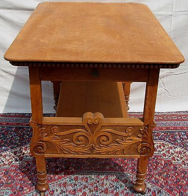 19Th C Antique Victorian Tiger Oak Carved Kitchen / End Table ~ Pastry Table