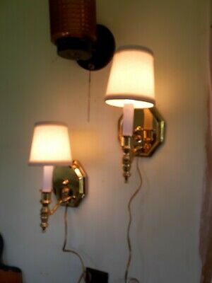 Vintage Pair  Gold Tone Metal Wall Sconces Lights Lamps with  Shades