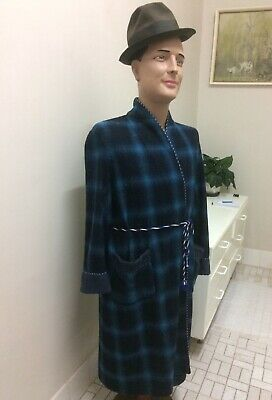 Original Vintage Men's 50s 60s Dressing Gown Robe , Wool , Check Size M , Retro