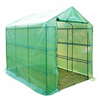 NEW Garden Greenhouse With Shelves Polytunnel Outdoor Plant Green Houses VEG