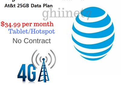 UNTHROTTLED 25GB At&t Data Plan $34.99 per Month No Contract Hotspot