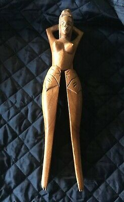 Vintage Lady Hand Carved Wood Woman Nutcracker Naked Topless Legs