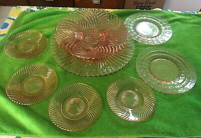 Lot of 8 Vtg Pink Depression Glass Spiral Optic Swirl Footed Bowl Plate Plates