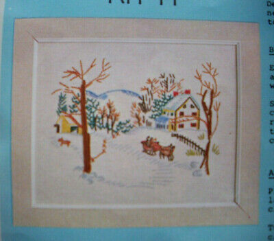 Winter sleigh ride crewel embroidery kit H
