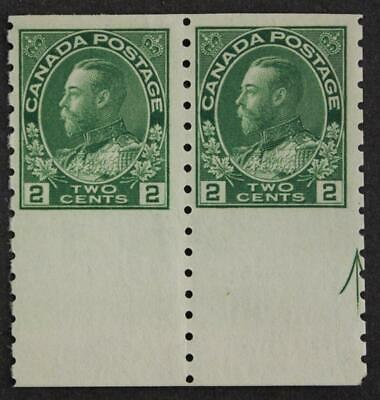 Canada #128a, MNH OG, Guide Arrow Variety Part Imperf Admiral Pair